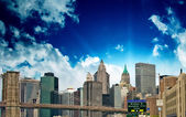 Beautiful view of Lower Manhattan Skyline and tall Skyscrapers — Stock Photo