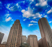 Skyscrapers of Boston with colorful Sky — Stock Photo