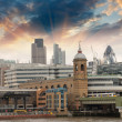 Royalty-Free Stock Photo: City of London at sunset, financial center and Canary Wharf