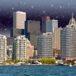 Toronto. Beautiful view of city skyline from Lake Ontario at night. — Stock Photo