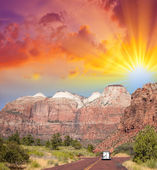 Zion Park, USA. Beautiful colors and typical red street — Stock Photo