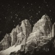 Stock Photo: High Peaks of Dolomites. ItaliAlps scenario at night