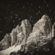 High Peaks of Dolomites. Italian Alps scenario at night — Stock Photo #23793015