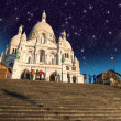 Beautiful Stars above Sacred Heart Cathedral in Montmartre - Paris - ストック写真