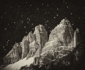 High Peaks of Dolomites. Italian Alps scenario at night — Stock Photo
