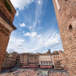 Wonderful aerial view of Piazzdel Campo, Sienon beautiful — Stockfoto #24005595