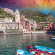 Stock Photo: Colorful boats in quaint port of Vernazza, Cinque Terre - It