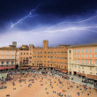 Royalty-Free Stock Photo: Wonderful aerial view of Piazza del Campo, Siena during a storm