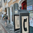 CHARLOTTE AMALIE, SAINT THOMAS - APR 22: Tourists enjoy colorful city streets - Stock Photo