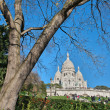 Beautiful view of Montmartre with Sacred Heart Cathedral - Paris — Stock Photo