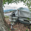 Car bumped against a big tree - Road Accident — Stock Photo