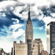 Wonderful view of Manhattan Skyscrapers with beautiful sky color — Stock Photo