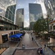 LONDON - SEP 29: Modern skyscrapers of Canary Wharf district - Stock Photo