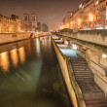 Paris. Notre Dame facade at night — Stock Photo #24283739