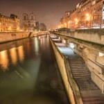 Paris. Notre Dame facade at night — Stock Photo