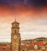 Wonderful sky colors above Stuttgart skyline, Germany — Stock Photo
