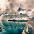 Постер, плакат: Anchored Cruise Ship in a Port of Call