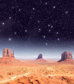 Stars over the wonderful Monument Valley scenario — Stock Photo