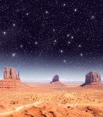 Stars over the wonderful Monument Valley scenario — Stock Photo