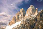 Dolomites, Italy. Terrific view of Alps Mountains with colourful — Stock Photo