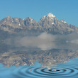 Mountain Peaks with snow and water reflections — Stockfoto