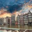 Amsterdam. Typical Dutch Homes over the canal - Stock Photo
