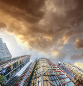 Terrific upward view of Modern Skyscrapers — Stock Photo