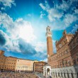 Wonderful wideangle view of Piazzdel Campo in Siena, Italy — Stock Photo #25076123