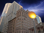 Storm over Brisbane Buildings — Stock Photo