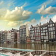 Amsterdam. Typical Dutch Homes over the canal — Stock Photo