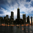 Wonderful Chicago Skyline at sunset — Stock Photo