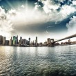 Stock Photo: Spectacular view of Brooklyn Bridge from Brooklyn shore at winte