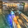 Paris. Beautiful city landscape at night along Seine River — Stock Photo