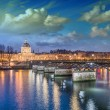 Beautiful sunset colors of Paris and Seine river - Stock Photo