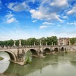 Stock Photo: Rome, Italy. Beautiful view of Tiber river with famous Bridge