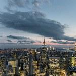 New York City sunset skyline — Stock Photo