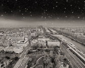Wonderful aerial view of Paris at night from the top of Eiffel T — Stok fotoğraf