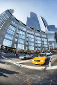 NEW YORK - MAR 7: Yellow cab speeds through Times Square the bus — Stock Photo