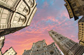 Fisheye view of Piazza del Duomo in Florence — Stock Photo