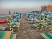 Rows of beach chairs — Foto Stock