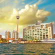 Beautiful skyline of Toronto from Lake Ontario - Canada — Stock Photo