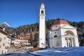Church in the Dolomites, winter season — Stock Photo