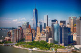 New York. Stunning helicopter view of lower Manhattan Skyline on — Stock Photo