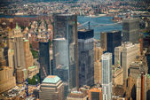Aerial view of Lower Manhattan from Helicopter with Manhattan B — Stock Photo