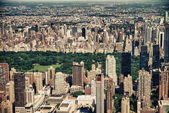 Panoramic Helicopter view of Central Park South and surrounding — Stock Photo