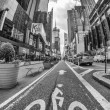 Stock Photo: NEW YORK CITY - JUN 11: Bike sign on street in Times Square,
