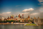Pier 40 with soccer fields and lower Manhattan skyscrapers, heli — Stock Photo