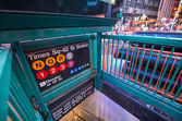 Times Square Entrance subway station at night - New York City — Foto Stock