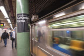 Train speeding up in Columbus Circle subway station - NYC — Stock Photo