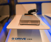 NEW YORK CITY - JUN 10: G Drive Mini from G technology on a computer shop — Stock Photo